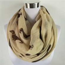 Newly Design Women's Fashion Accessories Dachshund Dog Print Long Voile Scarf Shawl Scarves Drop Shipping(China)