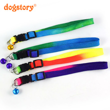 1Pieces/Dogstory Fashion Rainbow Nylon Pet Dog Collar Cute Bells For Dog Cat Collars Pet Product Christmas Accessories