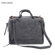 DIDA BEAR women handbag PU leather tote bag Retro shoulder messenger bags Tote Shopping bag green gray blue red Femme Sac a Main(China)