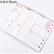 K&KBOOK Creative Cute Flower Loose-leaf Notebook Inner Paper Core,Candy 6 Holes Personal Organizer Planner Refilling Page A5 A6