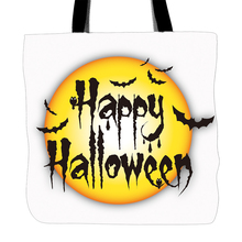 Happy Halloween Day Designs Printing Full Moon Bats Tote Bag For Shopping Food Convenience Women Shoulder White Canvas Hand Bags(China)