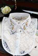 Lace shirt bead flower women turn collar Swan embroidered crystal flower and rhinestone half saving shirt false collar pendent(China)