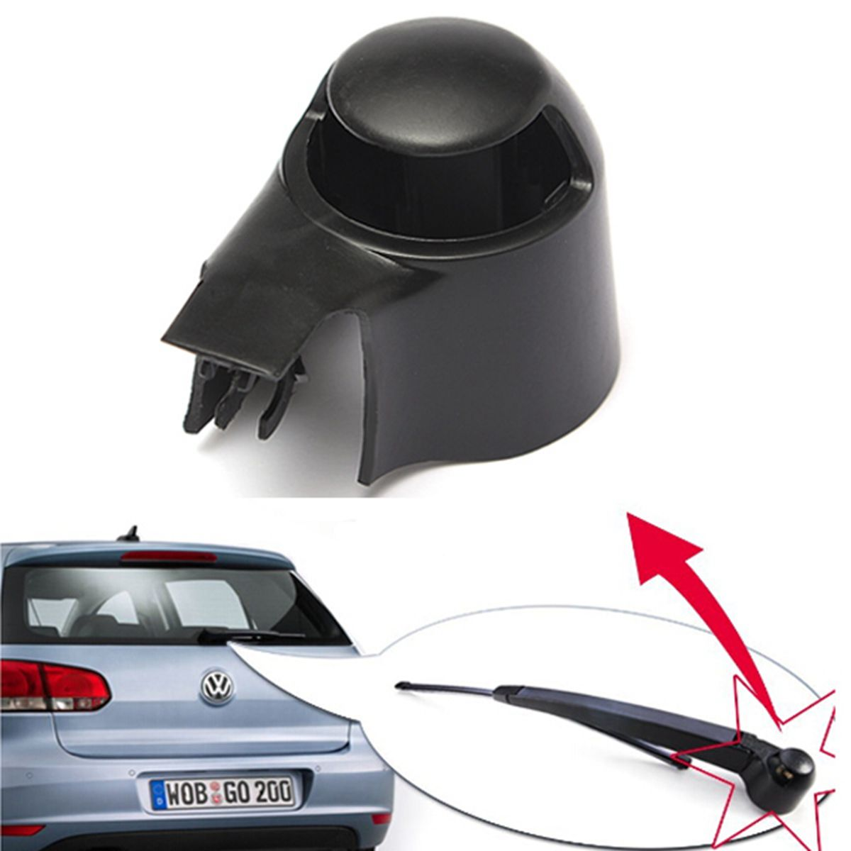 Black Car Rear Wiper Washer Arm Blade Cover Cap For VW MK5 Golf Passat Caddy Tiguan Touran(China)