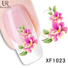 1sheet Water Transfer Nail Art Stickers Decal Beauty Red Peony Flowers Green Leaf Design Manicure Tools BEXF1023