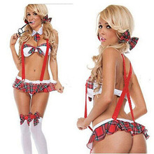 Womens School Girl Costume Sexy Lingerie Uniform Halloween Cosplay Fancy Dress Lingerie Sexy Hot Erotic Role-Playing Games Porno