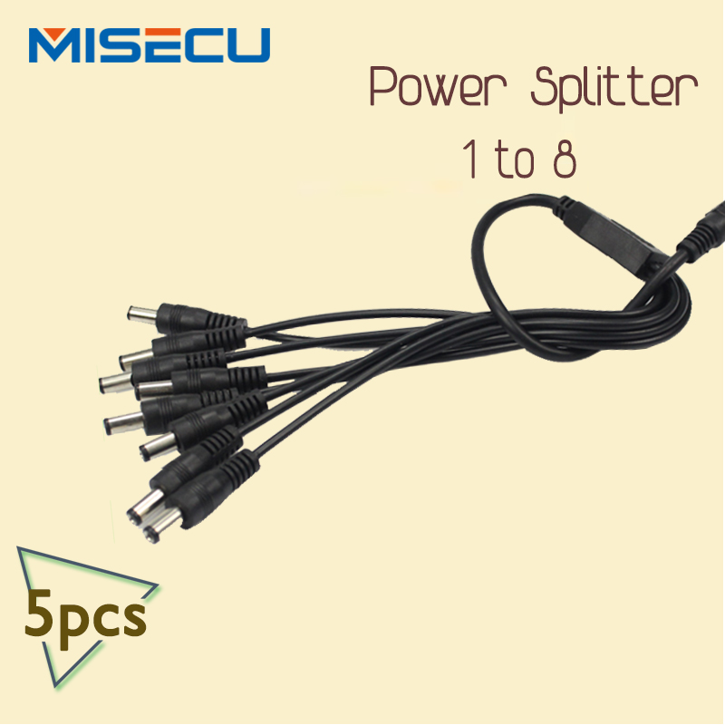 1 to 8 DC Power Splitter  Adapter Cable for Security CCTV Camera Systems 5pcs/lot<br><br>Aliexpress