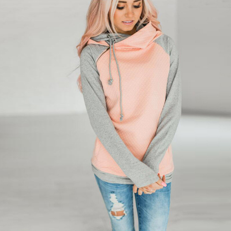 New Double Hood Sweatshirt, Women's Long Sleeve, Side Zipper Hooded Casual Pullover 5