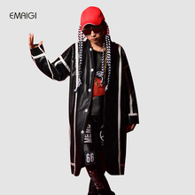 Custom Make Men PU Leather Splice Long Tench Coat Cloak Male Singer Dancer Hip Hop Fashion Stage Show Costume Loose Overcoat(China)