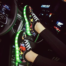 KRIATIV Size35-44 Colourful Usb Charging Shoes Luminous Sneakers LED Slippers Light Up Girl Led Shoes Infant Glowing Sneakers(China)