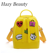 Hazy beauty New all over sticker women jelly backpack pretty hot lady shoulder bag female two function shoulder or backpackDH815