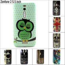 Fashion Retro tape cartoon owl USA UK flag soft tpu gel silicon cover case for Asus Zenfone 2 ZE551ML 5.5 inch with pen gift