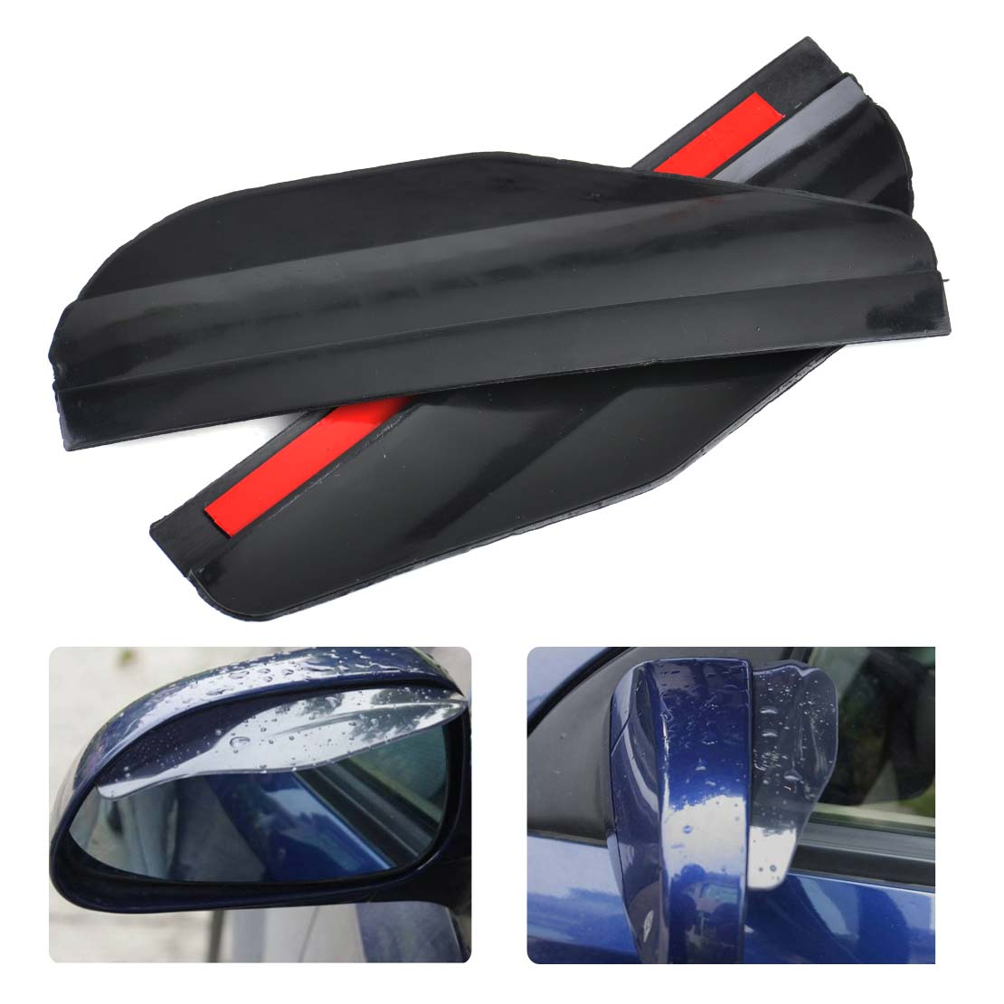 beler New 2pcs Acrylic Auto Black Flexible Rearview Side Mirror Cover Protector Car Styling Water Rain Sun Guard Visor Shield