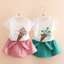 Summer Baby Girls Clothes Set Cotton Ice Cream T-shirts + skirt 2pcs Infant Girls Sports Suit Toddler Girls Clothing Set(China)