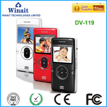 "Mini digital video camera DV119 720p hd 4X digital zoom PC camera 2.0""LCD display cheap digital video camcorder"