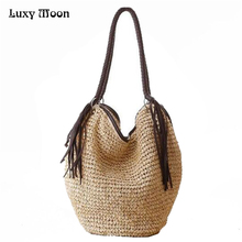 2017 New Fashion Simple Casual Style Bag New Summer Handbag Woven Straw Beach Bags Women Brand Tassel Handbag ZD233