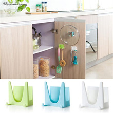 High Quality Plastic Kitchen Pot Pan Cover Shell Cover Sucker Tool Bracket Storage Rack Hot Sale Free Shipping,Dec 1