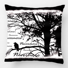 Black And White Nevermore Raven Silhouette Throw Pillow Case Decorative Cushion Cover Pillowcase Customize Gift For Sofa Seat(China)