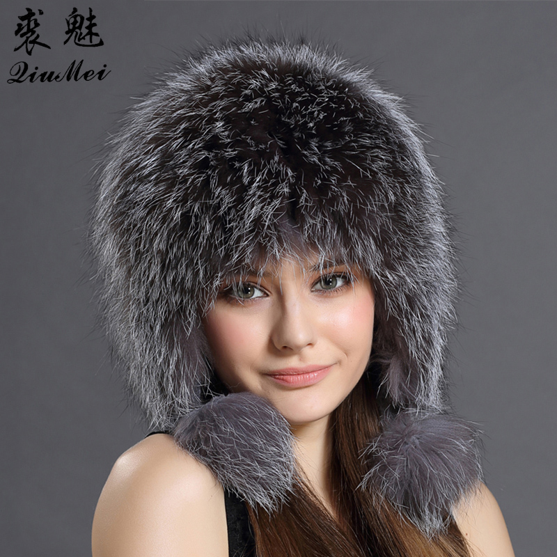 Real Fox Fur Pompom Bomber Hats Russian Female Beanies Natural Raccoon Fur Hat Knitted Skullies Beanies Women's Cap Winter Hats
