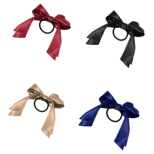 5pcs Women Tiara Satin Ribbon Bow Hair Band Rope Scrunchie Ponytail Holder Gum For Hair Accessories Hairstyle Girl Headbands(China)