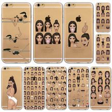 New! Funny Face Kimoji Kim Kardashian Cases For iphone 6 6S Girls Design Travling Girl Clear Ultrathin TPU Crying Face Cover(China)