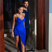 2016 Fashion Women New Style Blue dress Sexy Irregular Split Bodycon Dresses V neck Slim Vestidos