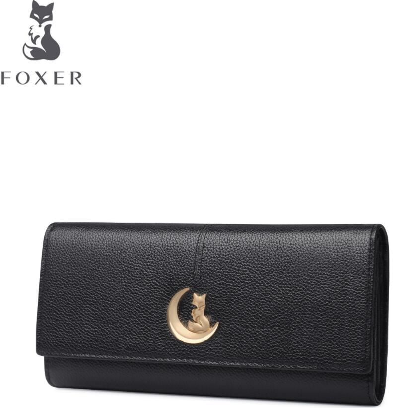 FOXER women leather wallets new women long wallets Simple fashion  Buckle leather wallets purse women clutch bags<br>