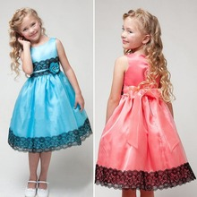 UNIKIDS 2-7 Y Girl Kids Flower Princess Bow Dress Wedding Party Pageant Tulle Rose Dress