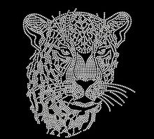 2pc/lot leopard head rhinestones motif hot fix rhinestone applique hot fix rhinestone motif iron on transfer patches(China)