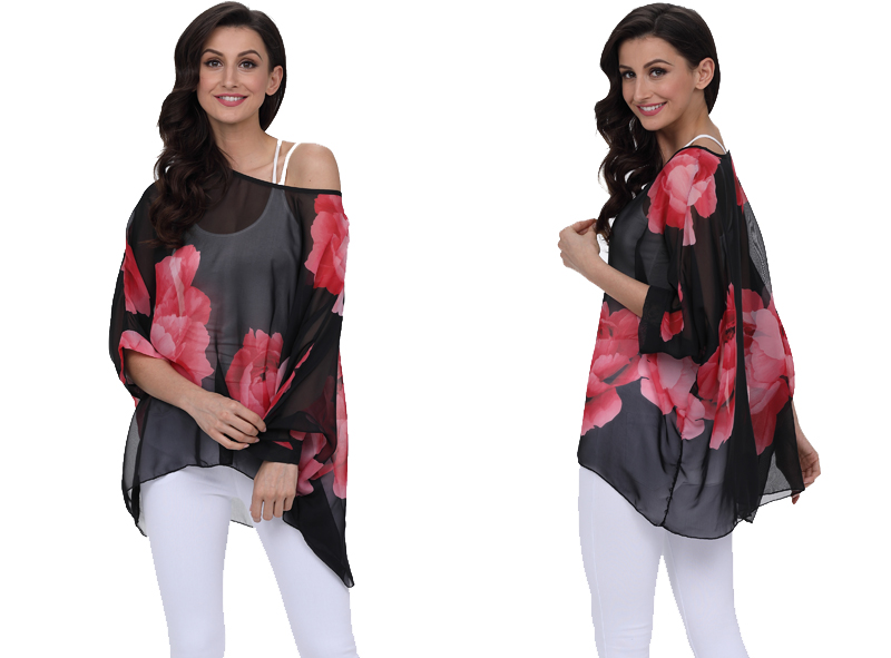 BHflutter 18 Women Tops and Blouses Plus Size Floral Print Casual Chiffon Blouse Boho Style Batwing Sleeve Summer Shirt Blusas 4