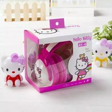2017 Hello Kitty stereo Headphone with Mic for mobile phone cute music kids MP3 player headset gift box cartoon headband AY4