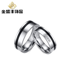 The 6mm Stainless steel with 3A zircon lovers ring not rub off couples rings jewelry customized jewelry wholesale CR-108