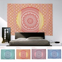 Yellow New Indian Mandala Tapestry Hippie Home Decorative Wall Hanging Bohemia Beach Mat Yoga Mat Bedspread Table Cloth