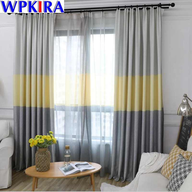 Blue Stripe Curtain for Bedroom Modern Semi Blackout Curtains Home Decoration Fashion Fabrics For Living Room Custom HC047-30