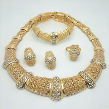 New Exquisite Dubai Jewelry Set Luxury Gold Color Big Nigerian Wedding African Beads Jewelry Set Costume New Design(China)