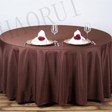 10pcs Customize Tablecloths Polyester Cotton Fabric 120'' Round Chocolate Luxury Dining Tablecloths Weddings Party FREE SHIPPING
