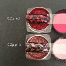 RED/PINK 1 BOX 2 Way Platinum Foil Flakes Pigment Mirror & Flake Effect Chrome Nail Powder Glitter Sequins Gel Nail Polish DIY
