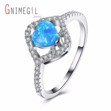 GNIMEGIL Brand Jewelry Women Ring with Turquoises Blue Stone Ring Trendy Style Heart Shape Ring New Arrival Fashion