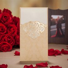 50PCS Gold /Red Hollow Laser Cut Wedding Invitations Card Personalized Custom Printable Birthday Wedding Event & Party Supplies(China)