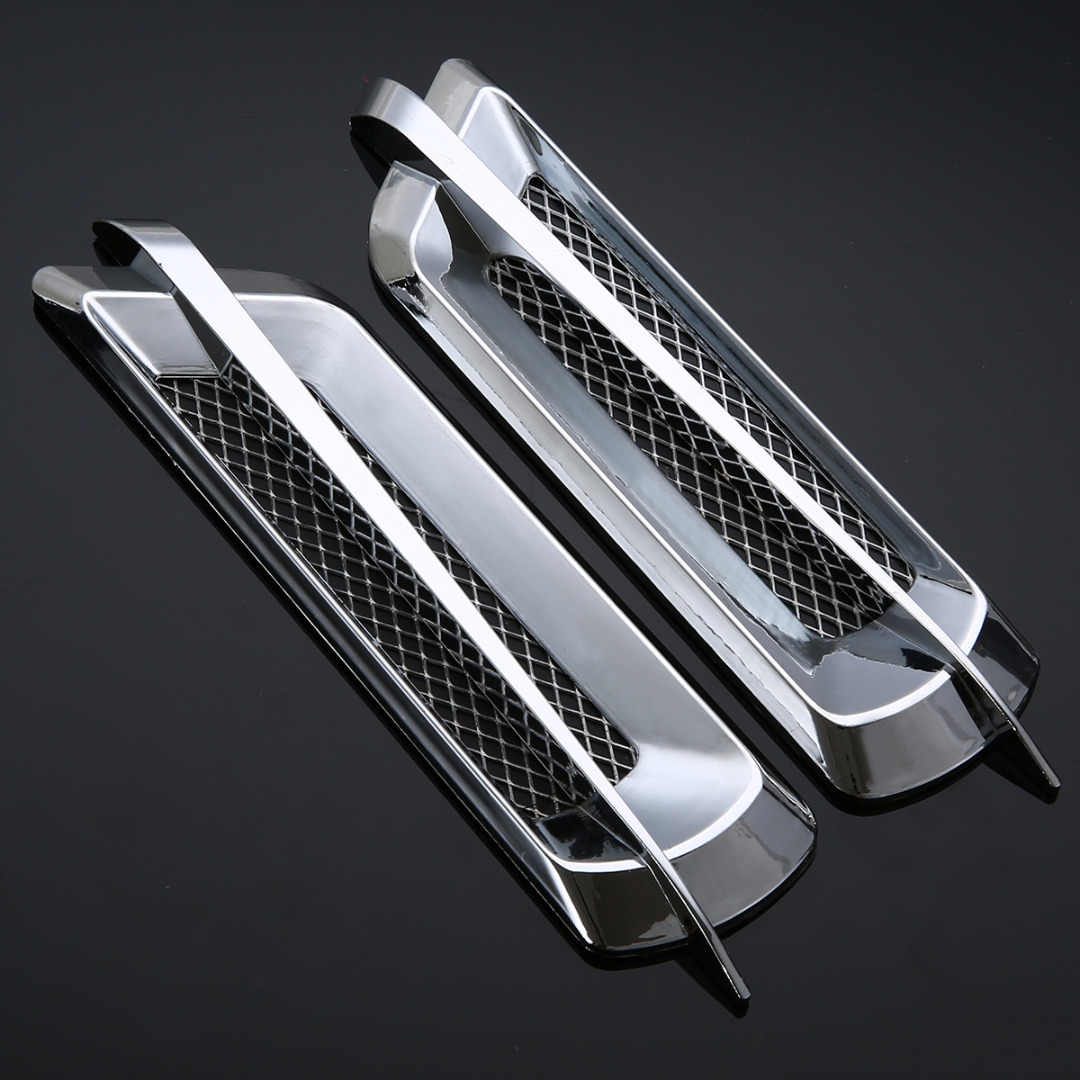 2Pcs Car Styling Chrome Grid Air Flow Fender Electroplate Car Side Vent Fender Cover Sticker Car Body Decor