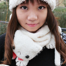 Princess sweet lolita scarf Autumn and winter warm thermal cute cat scarf soft plush muffler scarf collars 3colors can choose