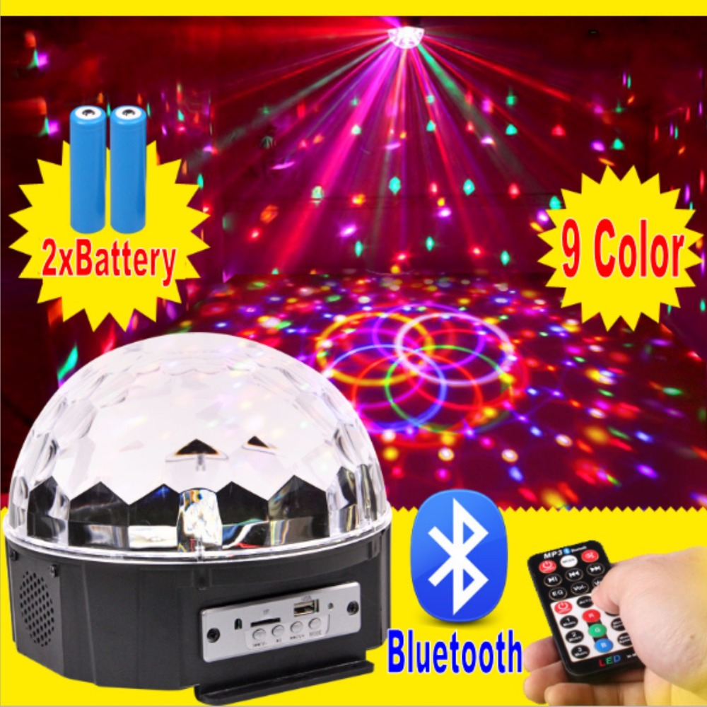 9 LED Remote Control Bluetooth MP3 Crystal Magic Ball Led Stage Lamp Disco Laser Light Party Light Sound Control Christmas KTV<br>