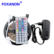 Foxaon 5050 LED Strip 5M 300Led SMD RGB 60LED/M Lamps DC12V 2835 Leds RGB Flexible light + 44key IR Remoter + 3A Power Lighting