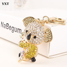 Koala Yellow Bear Charm Pendant Fashion Cute Crystal Purse Keyring Key Chain Women In Apparel & Accessories Substantial Gift
