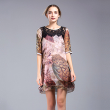 2017 Summer Women Chiffon Mini Dress Ladies Peacock Pattern Party Day Dresses Chinese Style High Quality Printing Half S(China)