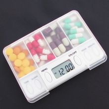 Portable 4 Grid intelligence Timer Pills Reminder Medicine Box, Organizer Storage pill case for elderly children's