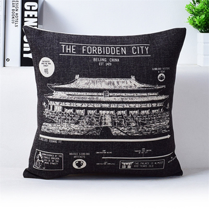 Vintage Camera Newspaper Cushion Cover Pillowcase The Golden Pavilion The Forbidden City Black and Beige Pillow Covers 2