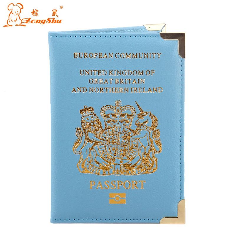 Peerless Passport Holder European Community United Kingdom Britain Pu Leather Protector Passport Cover Case Card Holder Be Novel In Design Desk Accessories & Organizer Office & School Supplies