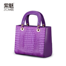 ZIOMEE new fashion purple top genuine crocodile leather handbag lady luxury handmade art tote high-end socialite tote flap bag