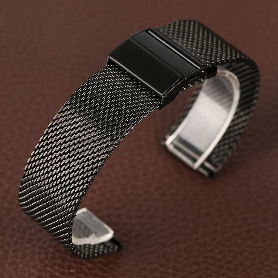 Mesh Milanese Bracelet Clasp Watchbands High Quality 18mm 20mm 22mm Silver Black Wrist Watch Band Strap for Clock Replacement 2018 (20)