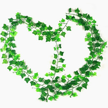 1pcs 2.4-2.5m Cheap Artificial Ivy Leaf Artificial Plants Green Garland Plants Vine Fake Foliage Home Decor Wedding Decor